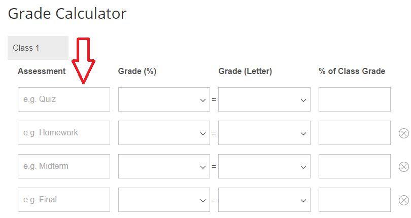 Choosing the Assessment calculate a grade