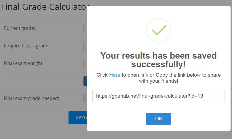 save final calculator exam grade success